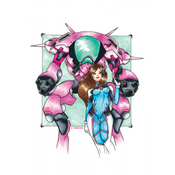 Overwatch D.Va with Meka Print - A3/A4/A6