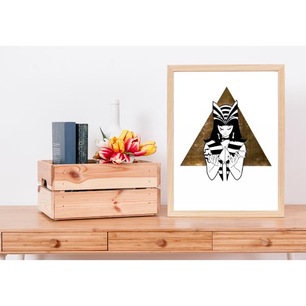 Gold Foil Bastet Print - A4