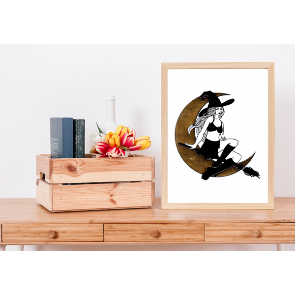 Gold Foil Witch Print - A4
