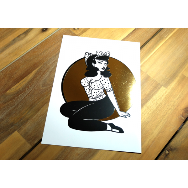 Gold Foil Pinup Print - A4
