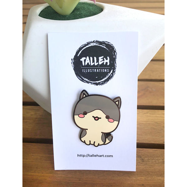Enamel Pin Kitty Grey